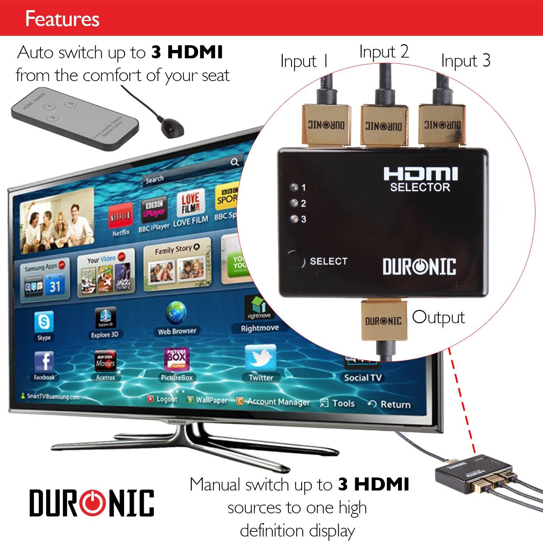 /HUB 3/x 1/ 1080P Full HD Switcher Duronic 3/Puerto HDMI Auto Caja de conmutaci/ón m/ás remoto/ 3/V/ías de entrada 1/salida HRS1031
