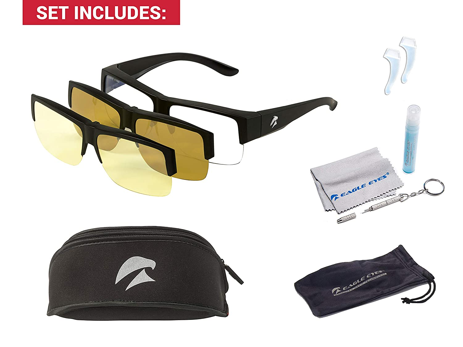 14ea4f344e Eagle Eyes 3in1 SuperSight Magnetic System Glasses - Computer Base Lens  with Magnetic Polarized Sunglasses Night Driving Clip-on - Block Blue  Light UV Rays