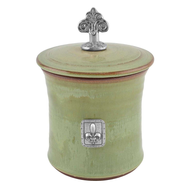 Oregon Stoneware Studio Fleur de Lys Garlic Pot with Pewter Finial, Latte CTSG62