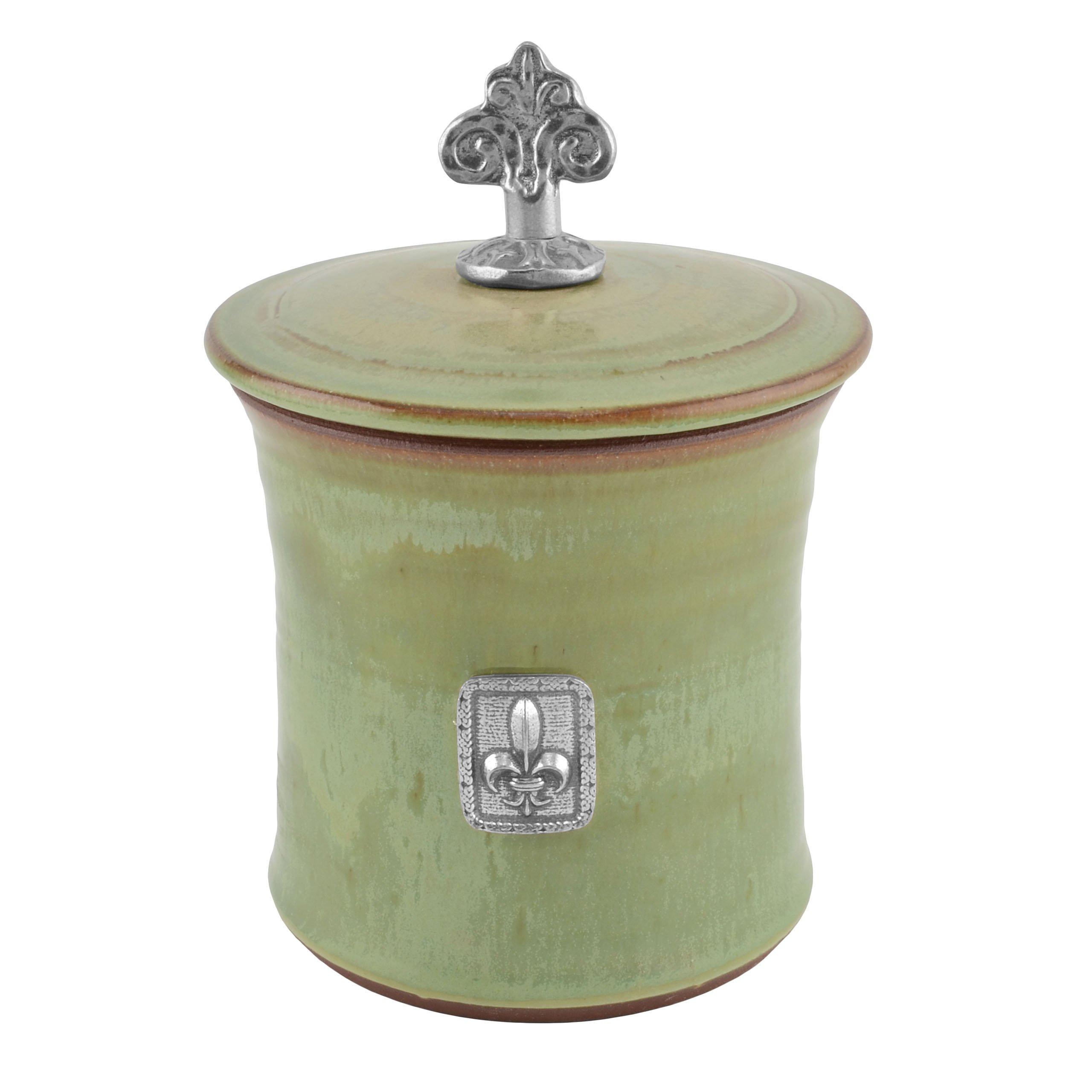 Oregon Stoneware Studio Fleur de Lys Garlic Pot with Pewter Finial, Pistachio by Oregon Stoneware Studio