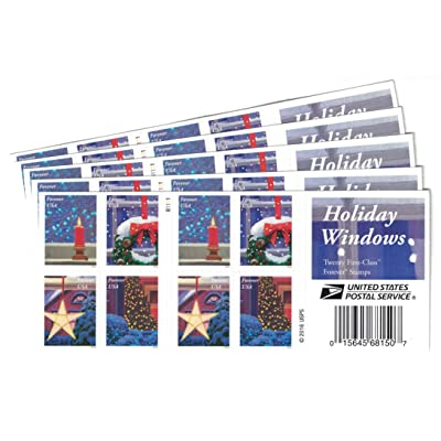 USPS Holiday Windows Forever Stamps 100 Stamps (5 Books of 20): Office Products