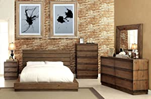 Esofastore Casual Coimbra Collection Modern Low Profile Bedframe Eastern King Size Bed Dresser Mirror Nightstand 4pc Set Bedroom Furniture Rustic Natural Tone Finish Solid Wood