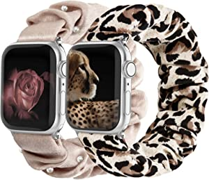 Compatible with Scrunchies Apple Watch Bands 38mm 40mm, Women Cloth Pattern Printed Fabric Wristbands Straps Elastic Scrunchy Band for iWatch Series 6 5 4 3 2 1 SE (Small Pink with Pearl, Leopard)