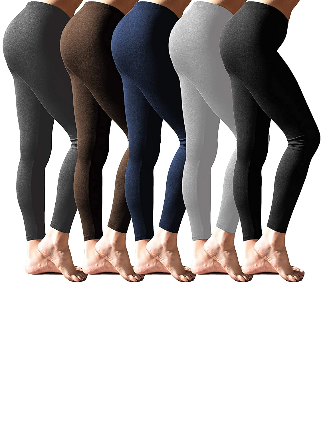 Black Charcoal Navy Grey Brown BEST BRANDS BASICS Women's 5 Pack Extra Super Soft & Stretchy Long Leggings Tights   One Size