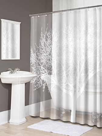 Splash Home EVA Shower Curtain, 70 By 72 Inch, Tree Pearl