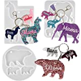 Keychain Charms Epoxy Resin Silicone Moulds Set Mon and Baby Tag Llama Bear Elephant