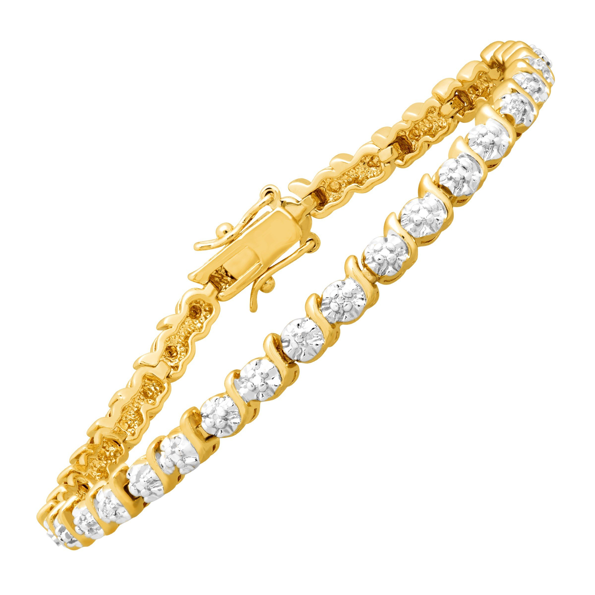 Tennis Bracelet with Diamonds in 14K Gold-Plated Brass, 7.5''