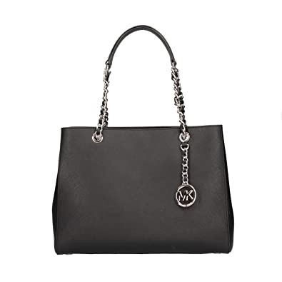 ae76ad57195e Amazon.com: MICHAEL KORS SUSANNAH SAFFIANO LARGE CHAIN TOTE IN BLACK: Shoes