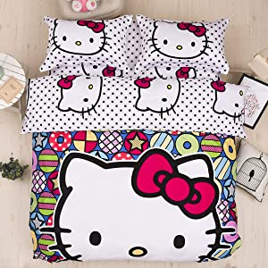 CASA Children 100% cotton series Hello Kitty Duvet cover and Pillow cases and Fitted Sheet,4 Pieces,Queen