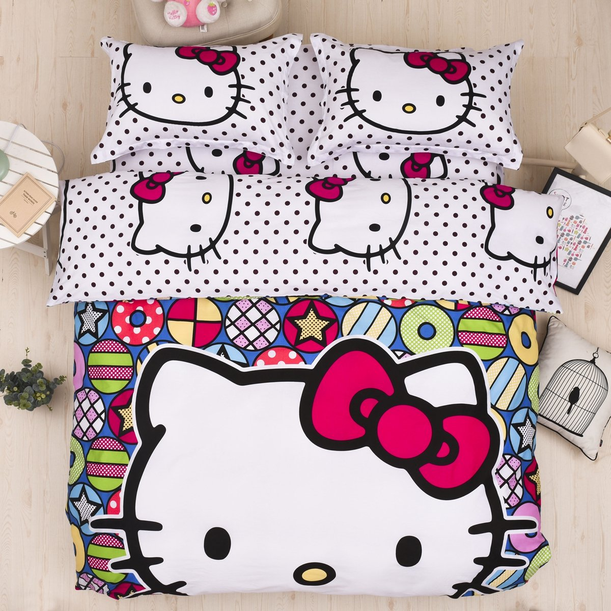 CASA 100% Cotton Kids Bedding Set Girls Hello Kitty Duvet cover and Pillow cases and Flat sheet,4 Pieces,King