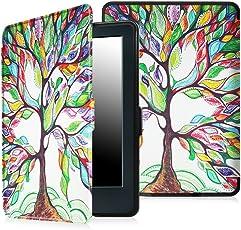 Bull spring Funda para Kindle (8ª generación - modelo de 2016), Cubierta de cuero de la PU para Kindle (8ª generación - modelo de 2016) (Árbol de amor)