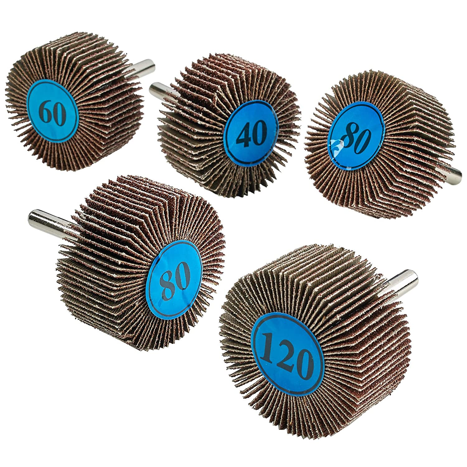 """Katzco 5 Pieces 2""""X 1"""" Flap Wheels Set – 4 Different Sanding Sizes – 1/4 Shank Fits All Drills-40 60 80 and 120 Grits"""