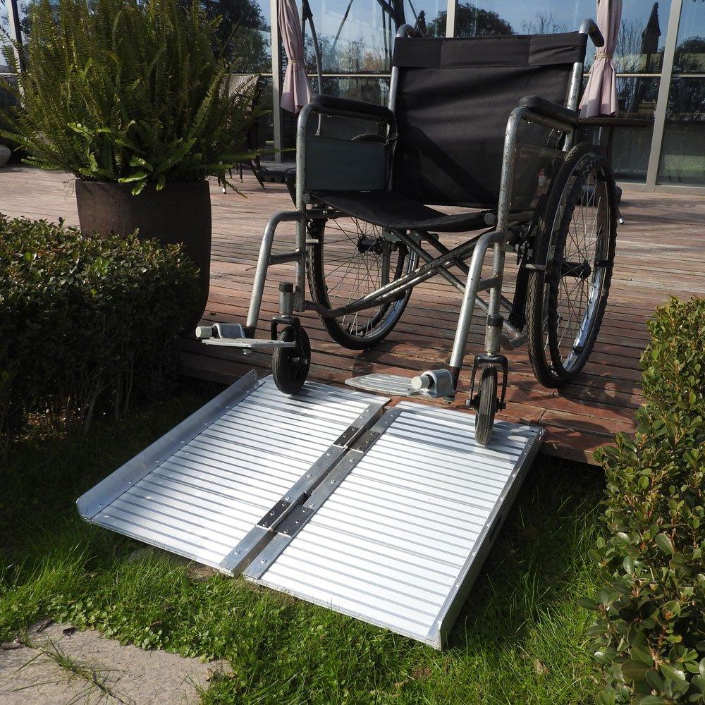 Olymstore 2 ft Portable Aliminum Utility Folding Ramp for Wheelchair Scooter Large Dogs Emergency Hospital,Lightweight Mobility Threshod Breifcase Nonslip