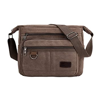 Amazon.com: Bolso bandolera vintage con múltiples bolsillos ...