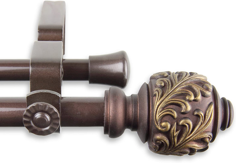 Cocoa Deena Double Curtain Rod 28-48 inch A/&F Rod Decor