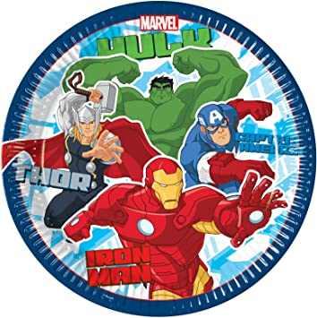 8 x Plates 23cm Avenger Multi Heroes Tableware Partyware for Birthday Superhero