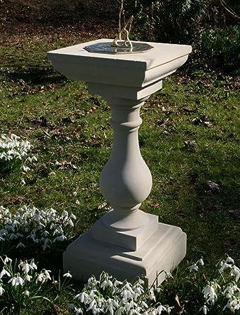 Large Garden Sundials   Classic Square Stone Brass Sun Dial