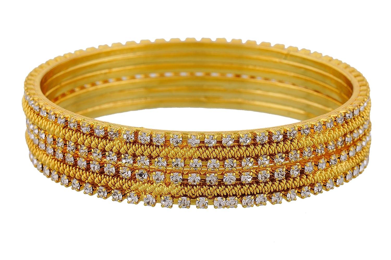 Buy Jewbang Sparkling Gold Bangles Size 2 4
