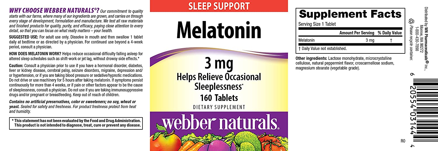Amazon.com: Webber Naturals Melatonin Tablets, 3mg, 160 Count: Health & Personal Care