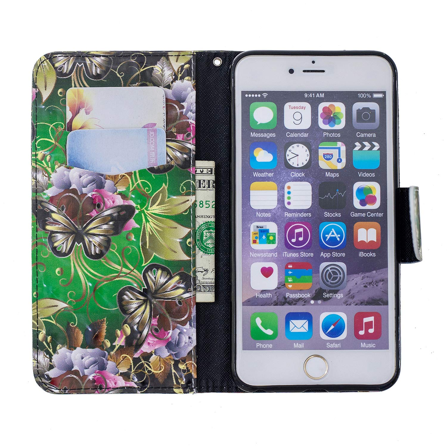 6 Plus NEXCURIO 5.5 iPhone 6S Plus NEBFE13302#5 6 Plus Wallet Case with Card Holder Folding Kickstand Leather Case Flip Cover for Apple iPhone 6S Plus