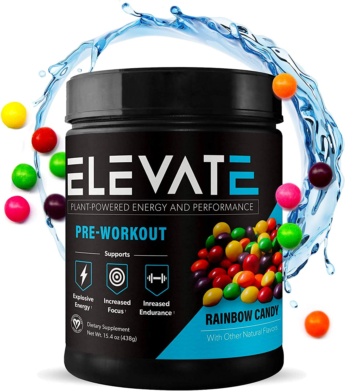 Plant Based Vegan Pre Workout Energy Booster, Keto Friendly Pre Workout for Men and Women, Non GMO, NO Dairy and Low Sugar, 30 Servings (Rainbow Candy) - Elevate Nutrition