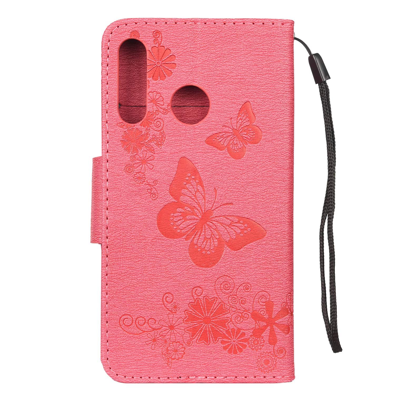 LEMORRY Coque Huawei P30 Lite Etui Cuir Portefeuille Pochette Mince Stand Protecteur Magn/étique Fente pour Carte TPU Silicone Housse Cover Etui Huawei P30 Lite//Nova 4e Chanceux Papillon Marron