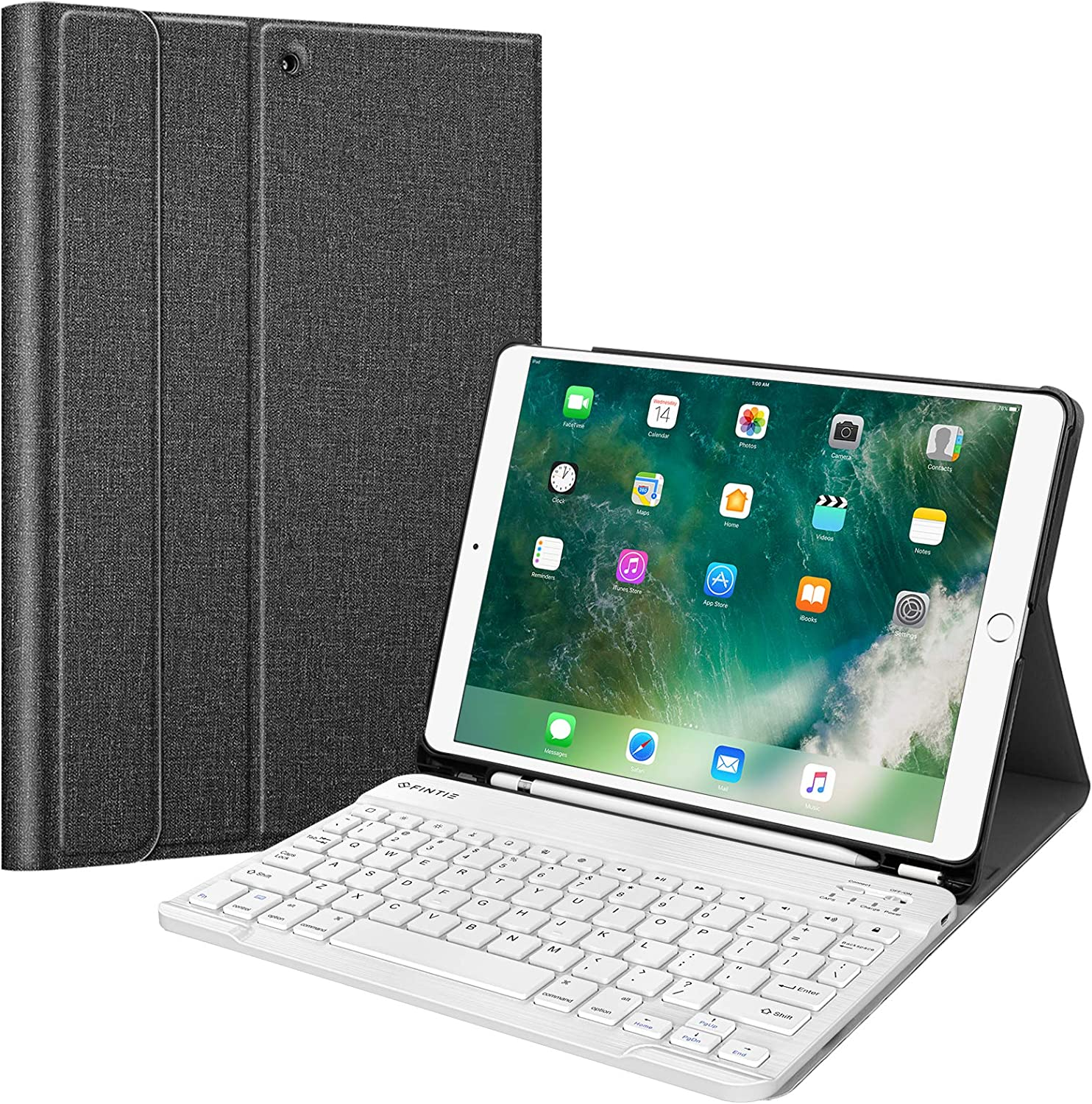 "Fintie Keyboard Case for iPad Air 3rd Gen 10.5"" 2019 / iPad Pro 10.5"" 2017 - SlimShell Stand Protective Cover w/Magnetically Detachable Wireless Bluetooth Keyboard and Pencil Holder, Gray"