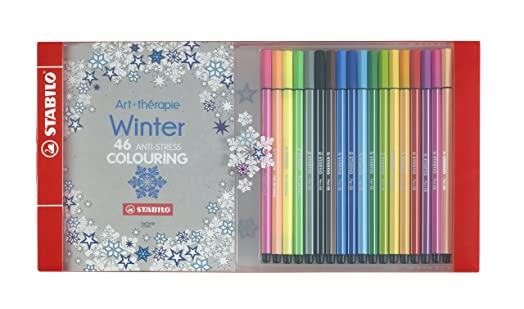STABILO Pen 68 Set Of 18 Assorted Colours With Limited Edition Winter Adult Colouring Book