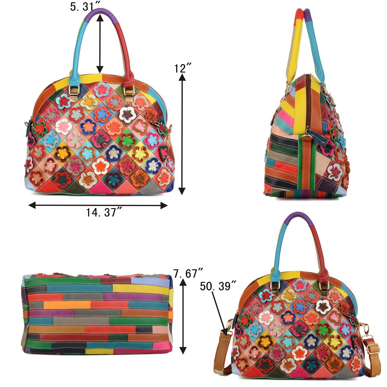 YALUXE Bolso Tote Shoppers Moda de Cuero Genuino Flores Piel Cosida Estilo Primavera Bolso de Hombro de Mujer