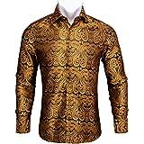 Barry.Wang Men Shirts,Paisley Flower Woven Silk Dress Shirt Long Sleeve Big and Tall