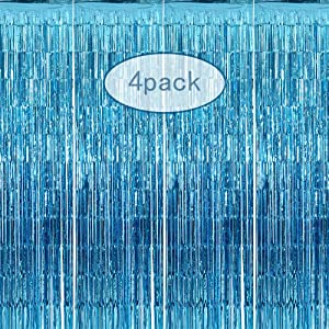 4 Pack 3.28 ft x 8.2 ft Metallic Tinsel Foil Fringe Curtain Rainbow - Tinsel Door Curtains - Party Photo Backdrop Wedding Baby Shower Birthday Decor (Sky Blue)