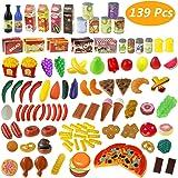 Küchenspielzeug, Estela 139 Teile Plastik Essen Spielzeug Obst Gemüse Ebensmittel Küche Kinder Pädagogisches Lernen Spielzeug Küchen Spielzeug Set Play Kinder Rollenspiele Spielzeug