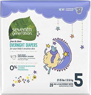 product image for Seventh Generation Overnight Diapers, Size 5, 20 Count
