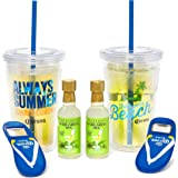 Corona Two Pack Tumbler Set: Includes Two Corona Double Walled Tumblers with Lids & Straws, Two Flip Flop Bottle Openers, Margarita Mix and the Official Coronarita Recipe