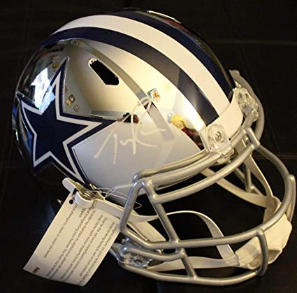 ba7178956af Image Unavailable. Image not available for. Color: Signed Tony Romo Helmet  - Chrome ...