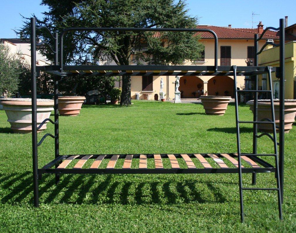 Letto a castello scomponibile 2 posti con rete a doghe legno ...