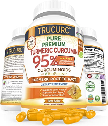 Trucurc Turmeric Curcumin Supplement with 95 Standardized Pure Tumeric Curcumin and Bioperine Black Pepper for Max Absorption- Highest Potency for Anti-Inflammatory Joint Health Support – 60 Capsules