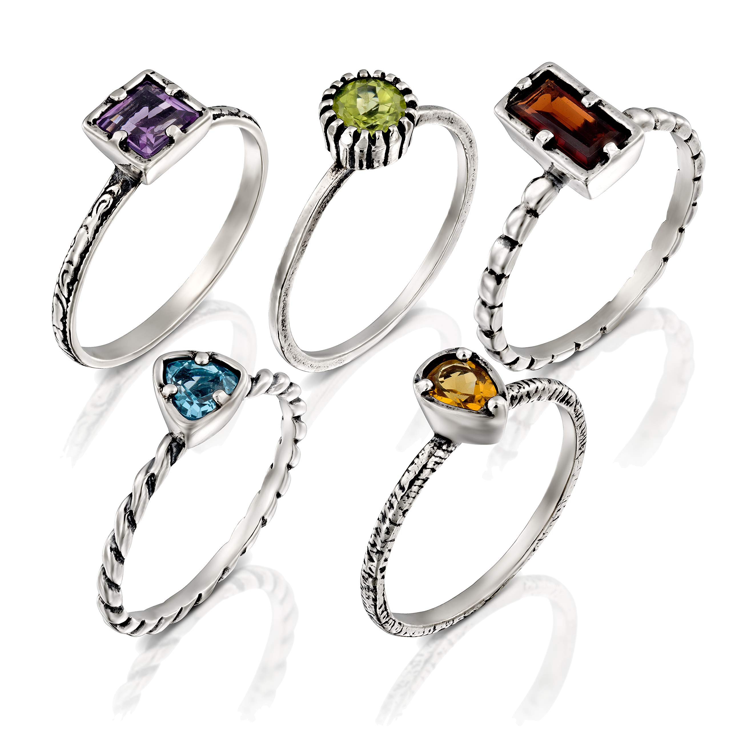 PAZ Creations .925 Sterling Silver Multi Gemstone Stacking Ring Set (7)
