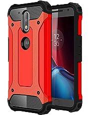 """SsHhUu Funda Moto G4 Plus, 2 in1 TPU + PC Doble Capa Protección A Prueba de Golpes Antideslizante Pesada Híbrida Resistente Protectora y Robusta Funda para Motorola Moto G4 / Moto G4 Plus (5.5"""") Rojo"""