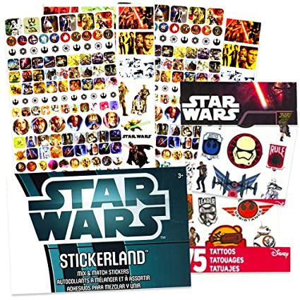 Amazon.com: star wars pegatinas y tatuajes fiesta Pack (275 ...
