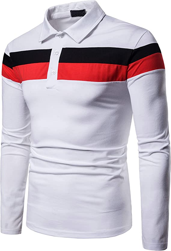 Sagton Mens Casual Slim Fit Short Sleeve Stripe Patchwork Polo T-Shirts