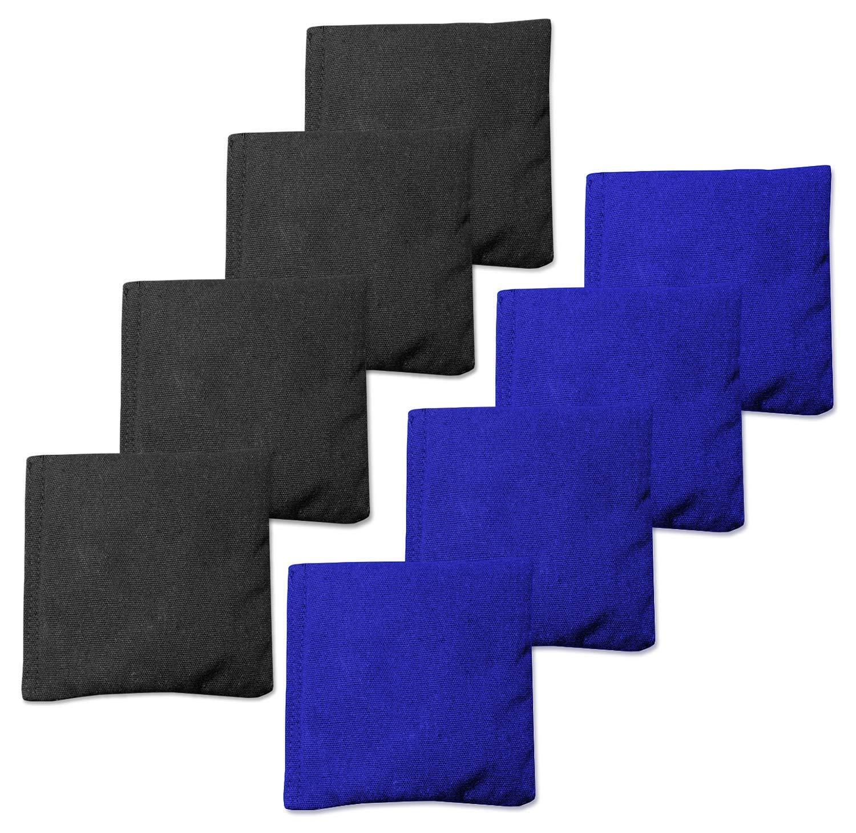 コーンホールバッグ コーンホールバッグ コーンホールゲーム用ビーンバッグ8枚セット 5色の組み合わせ B07H5PHRCY ブルー&ブラック ブルー&ブラック
