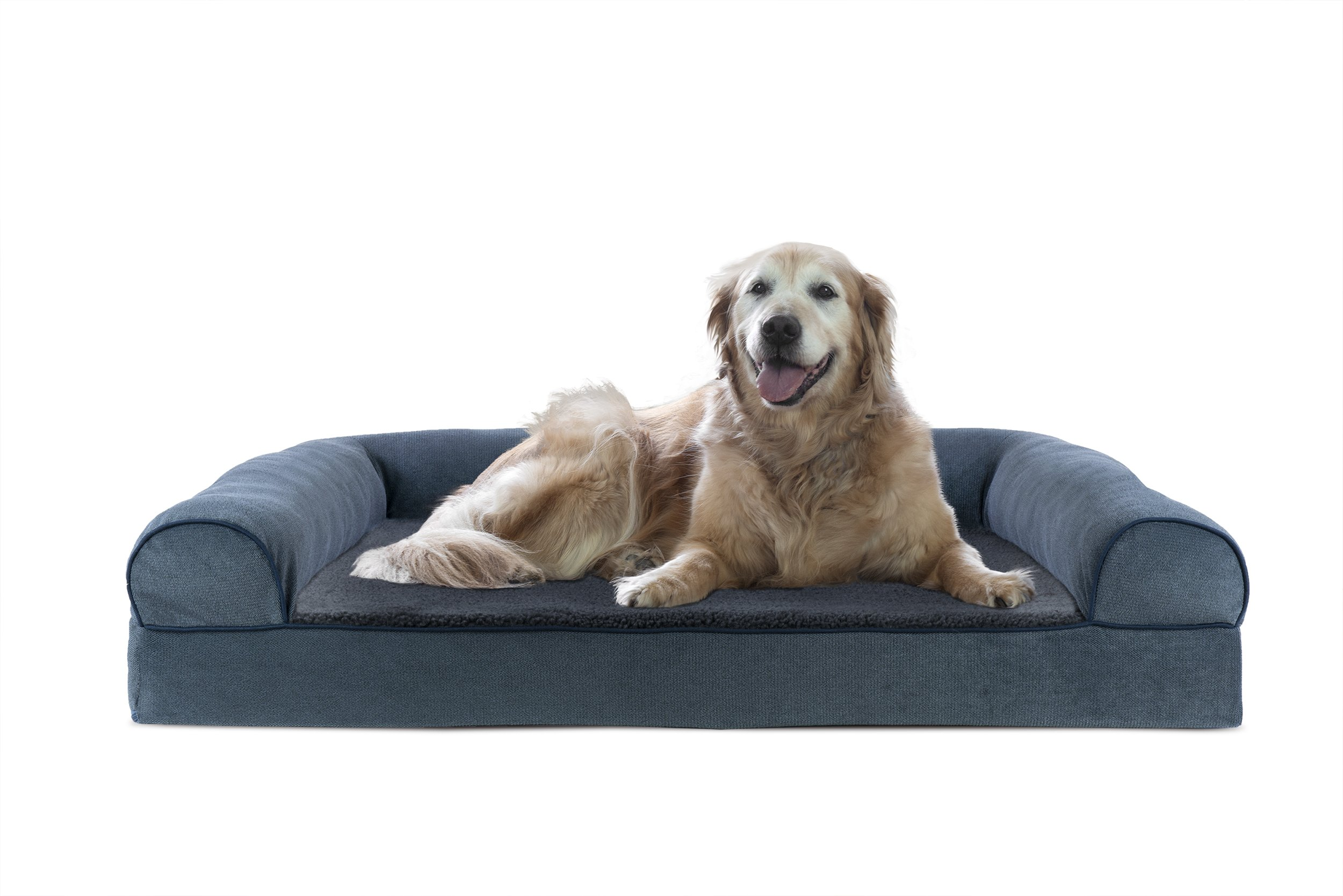 FurHaven Cooling Gel Memory Foam Orthopedic Faux Fleece & Chenille Dog Couch Sofa Bed for Dogs and Cats, Orion Blue, Jumbo
