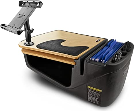 AutoExec AUE08450 Efficiency GripMaster Car Desk Black Finish with Built-in 200 Watt Power Inverter Phone Mount and Printer Stand