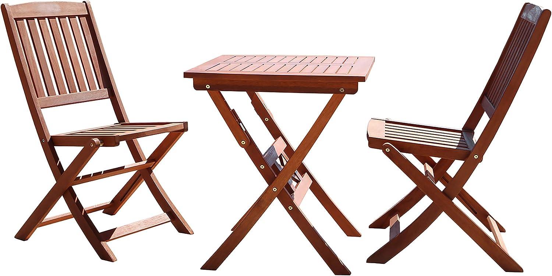 Amazon Com Vifah Malibu 3 Piece Wood Outdoor Patio Bistro Set Garden Outdoor