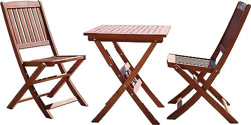 Vifah Malibu 3-Piece Wood Outdoor Patio Bistro Set