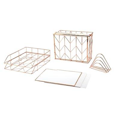 U Brands Desktop Filing Set, Rose Gold, 10 Piece
