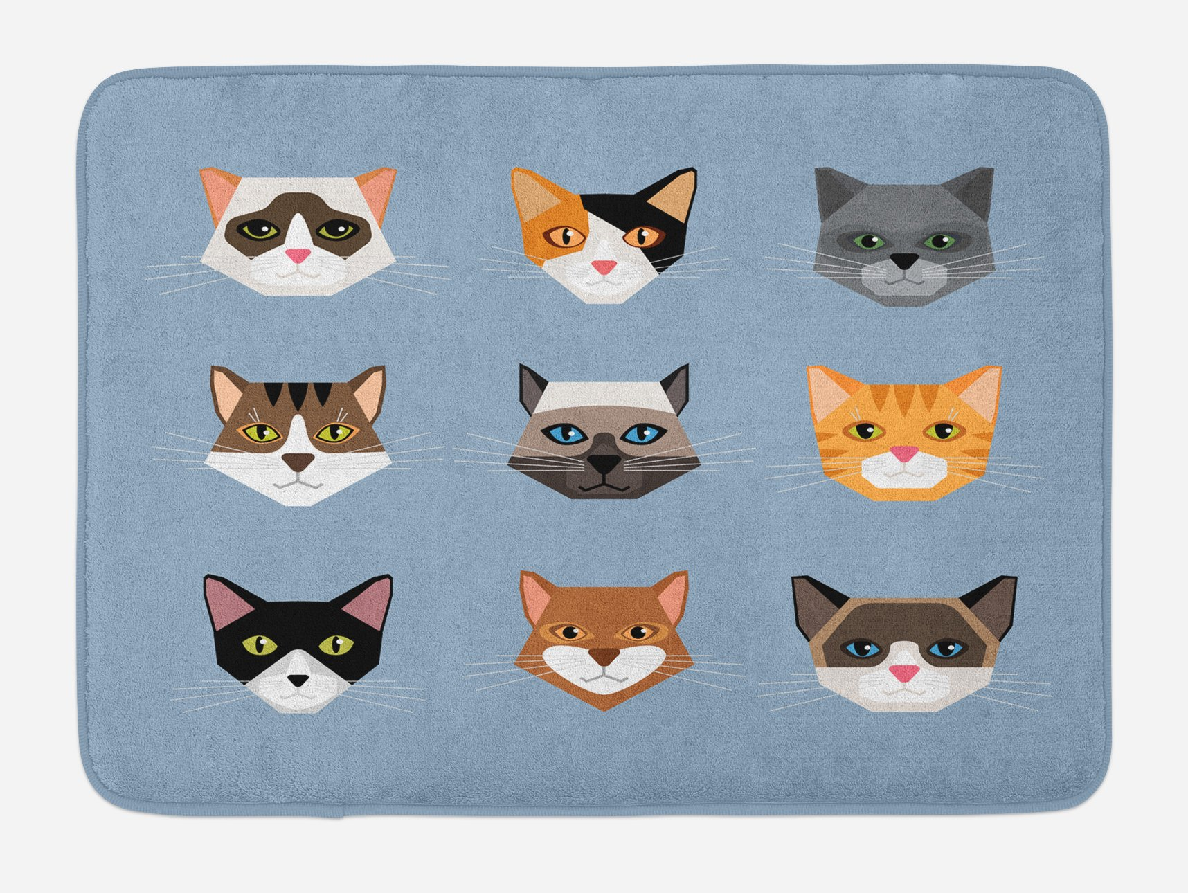 Ambesonne Cat Bath Mat, Animal Portrait Set with Cute Kittens Face Whiskers Contemporary Caricature Pattern, Plush Bathroom Decor Mat with Non Slip Backing, 29.5 W X 17.5 W Inches, Multicolor