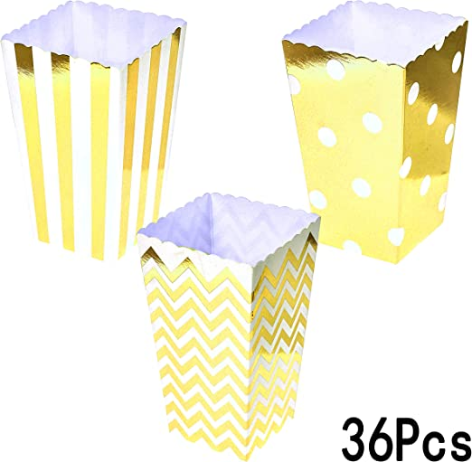Amazon Com Gold Party Popcorn Treat Boxes Wedding Bachelorette Bridal Shower Movie Theater Party Favors Mini Popcorn Candy Containers Baby Shower Birthday Party Treat Boxes Supplies 36ct Home Kitchen