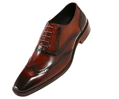 506adeb7320c8 Asher Green Mens Genuine Leather Burnished Oxford Wingtip Dress Shoe,  Lace-Up or Single Monkstrap